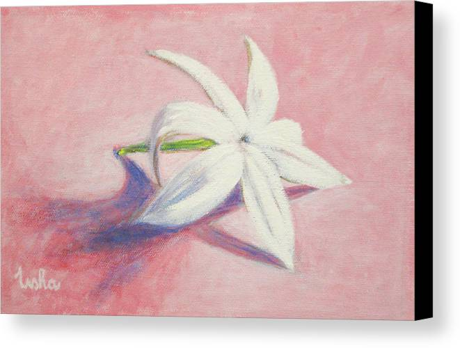 Portrait Canvas Print featuring the painting Portrait Of The Jasmine Flower by Usha Shantharam