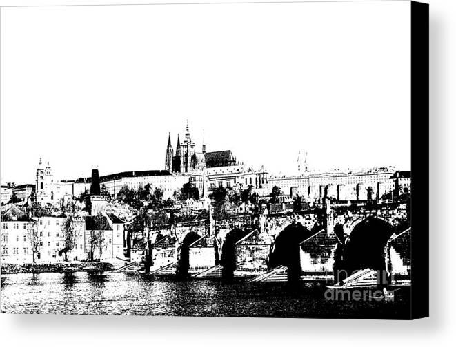 Prague Castle Canvas Print featuring the digital art Prague Castle And Charles Bridge by Michal Boubin