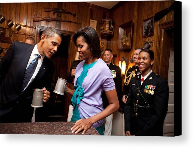 History Canvas Print featuring the photograph President And Michelle Obama Attend by Everett