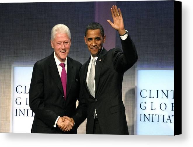 President Bill Clinton Canvas Print featuring the photograph President Bill Clinton, President by Everett