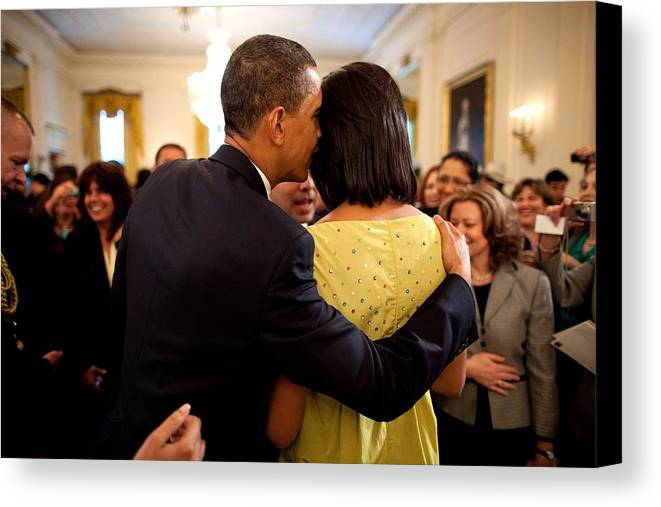 History Canvas Print featuring the photograph President Obama Whispers Into Michelles by Everett