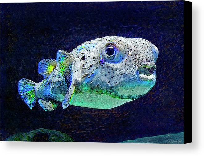Puffer Fish Canvas Print featuring the digital art Puffer Fish by Jane Schnetlage