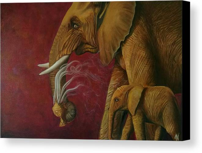 Contemporary Canvas Print featuring the painting Purity by Jyotsna Nair