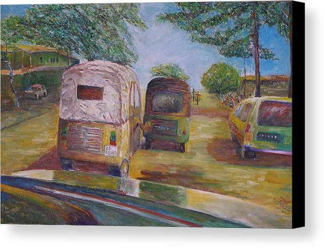 Landscape Canvas Print featuring the painting Pushing Forward - Benin Africa by Wendy Chua