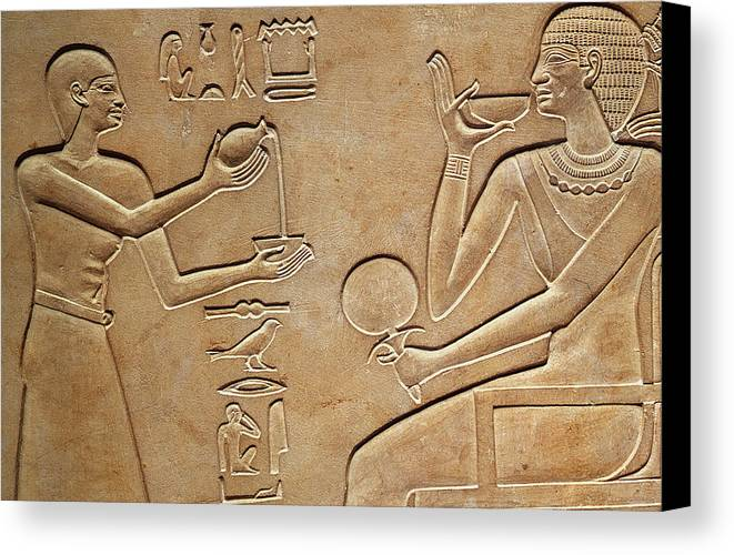 Queen Canvas Print featuring the relief Queen Kawit At Her Toilet by Egyptian school
