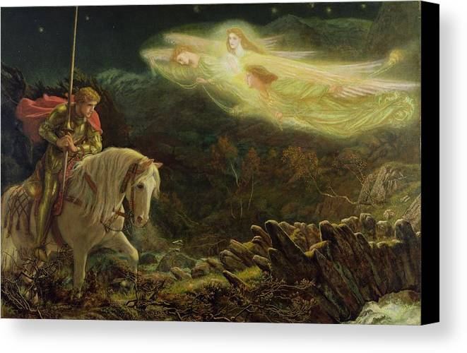 Man Canvas Print featuring the painting Quest For The Holy Grail by Arthur Hughes