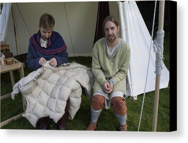 Period Re-enactment Canvas Print featuring the photograph Quilters At Work by Peter Jenkins