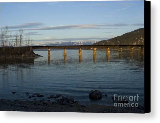 Bridge Canvas Print featuring the photograph Railroad Bridge Over The Pend Oreille by Idaho Scenic Images Linda Lantzy