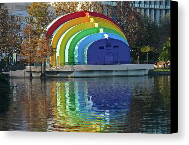 Band Shell Canvas Print featuring the photograph Rainbow Bandshell And Swan by Denise Mazzocco