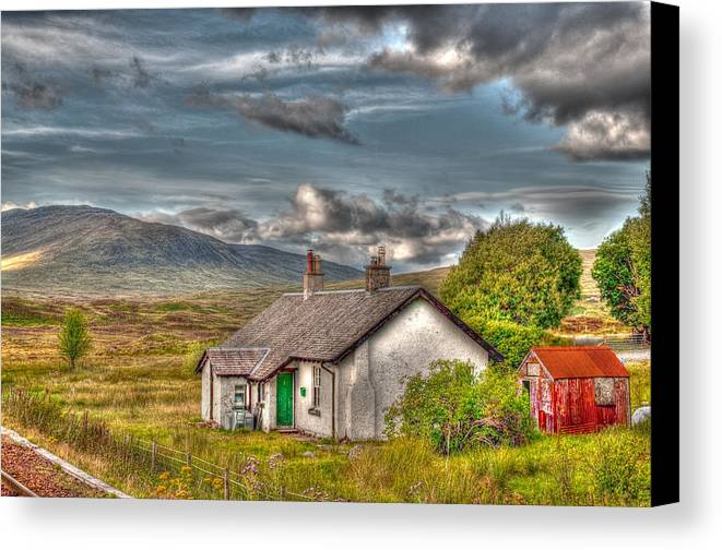 Rannoch Canvas Print featuring the photograph Rannoch Railway Station View by Chris Thaxter