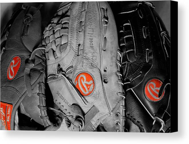 Mitt Canvas Print featuring the photograph Rawlings In Red by Jame Hayes