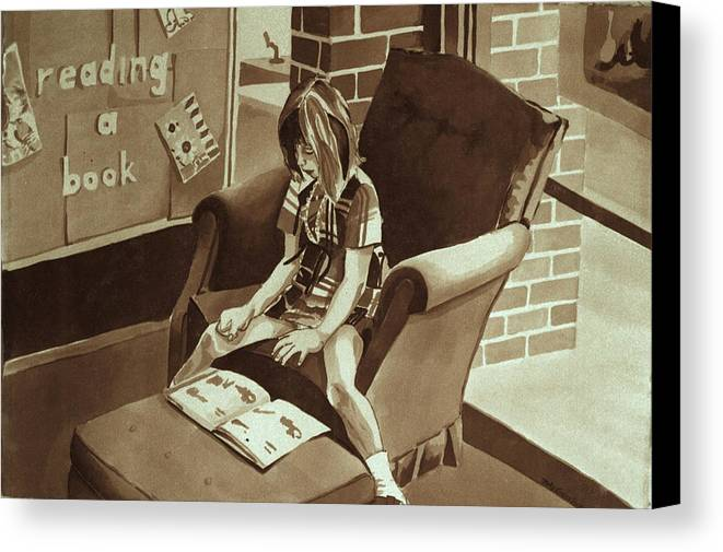 Girl Reading Book Canvas Print featuring the painting Reading Corner by Judy Swerlick