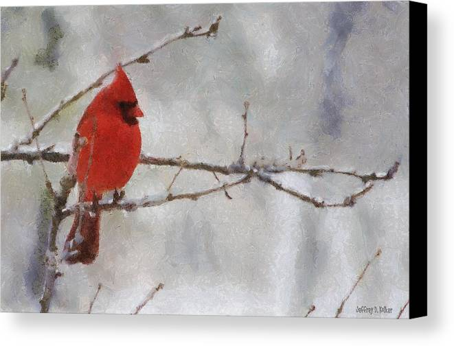 Bird Canvas Print featuring the painting Red Bird Of Winter by Jeffrey Kolker