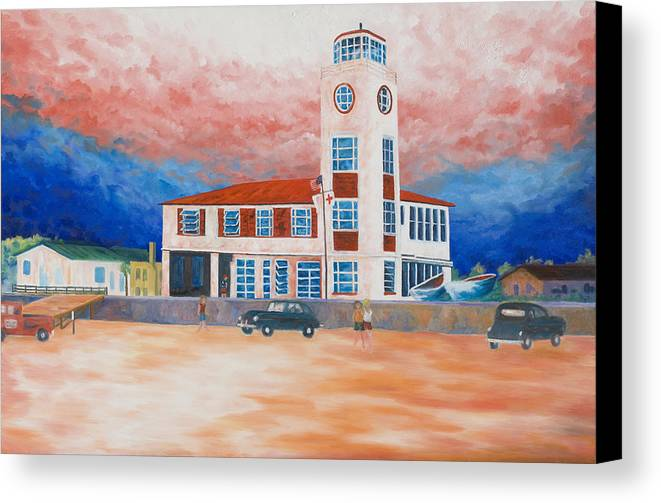 Historic Buildings Canvas Print featuring the painting Red Cross Lifeguard Station by Blaine Filthaut