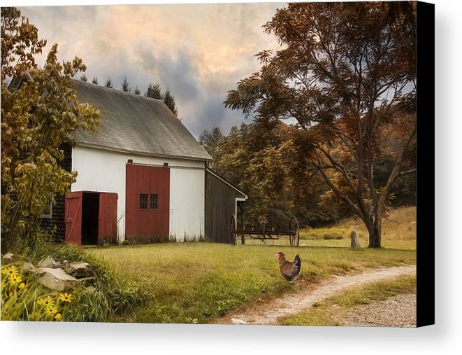 Barn Canvas Print featuring the photograph Red Door Farm by Robin-Lee Vieira