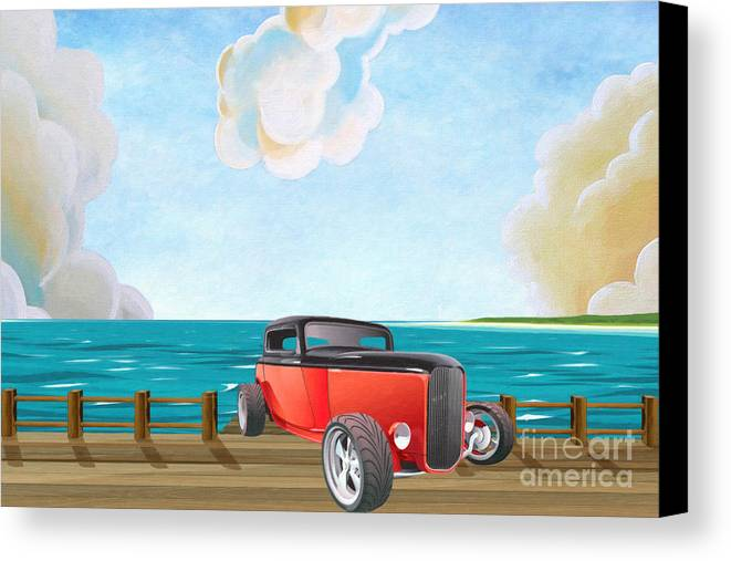 Red Hot Rod Canvas Print featuring the painting Red Hot Rod by L Wright