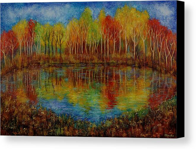 Landscape Canvas Print featuring the painting Red Lake. by Evgenia Davidov