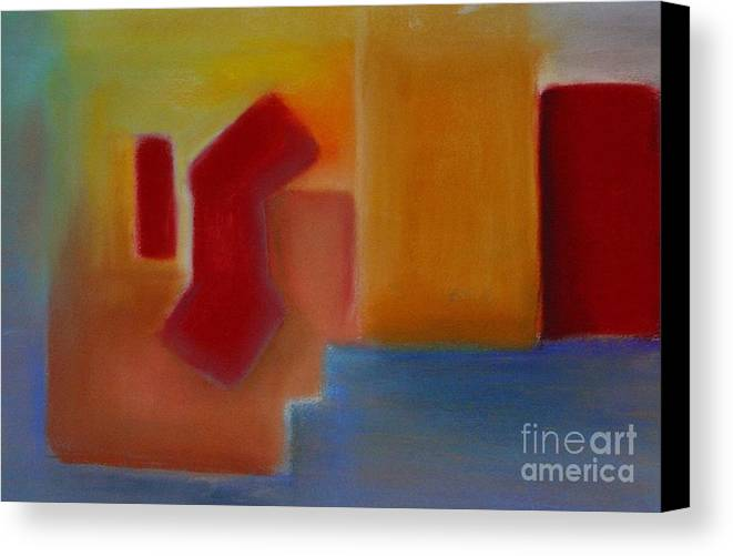 Abstract City Meditterenean Red Blue Leilaatkinson Original Pastel Canvas Print featuring the painting Red On Blue by Leila Atkinson