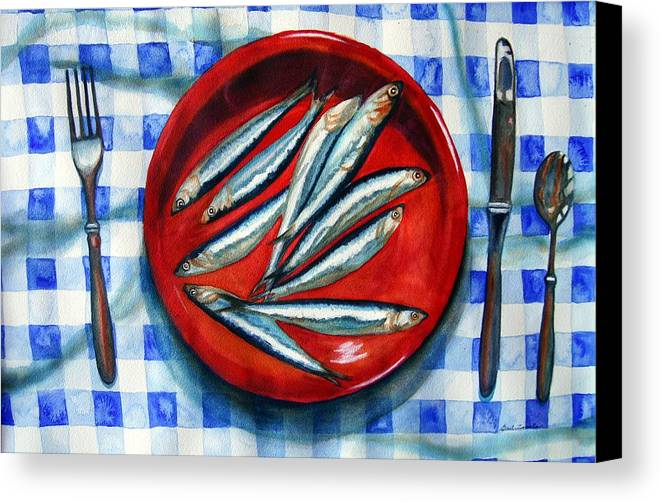 Still Life Canvas Print featuring the painting Red Plate Special by Gail Zavala
