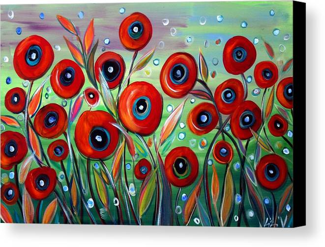 Flowers Canvas Print featuring the painting Red Poppies In Grass by Luiza Vizoli