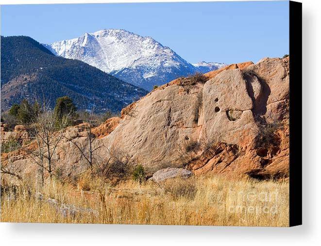 Bikers Canvas Print featuring the photograph Red Rock And Pikes Peak by Steve Krull