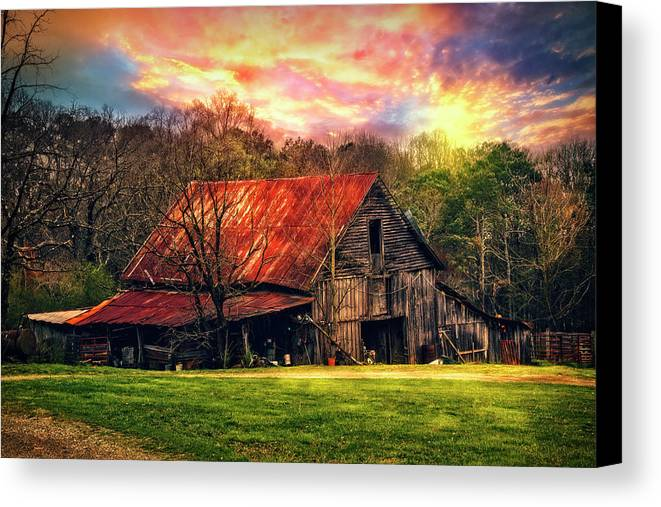 Appalachia Canvas Print featuring the photograph Red Roof At Sunset by Debra and Dave Vanderlaan