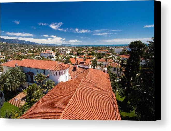 Aerial Canvas Print featuring the photograph Red Tile Roofs Of Santa Barbara California by George Oze