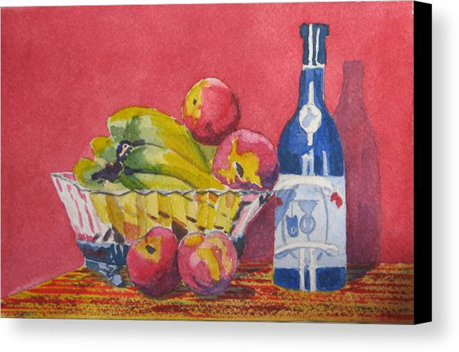 Fruit Canvas Print featuring the painting Red Wall Blue Wine by Libby Cagle