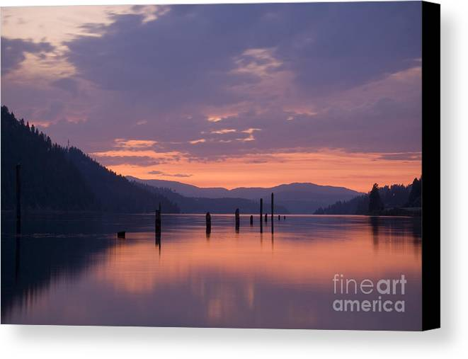 Reflection Canvas Print featuring the photograph Reflections Of Pink by Idaho Scenic Images Linda Lantzy
