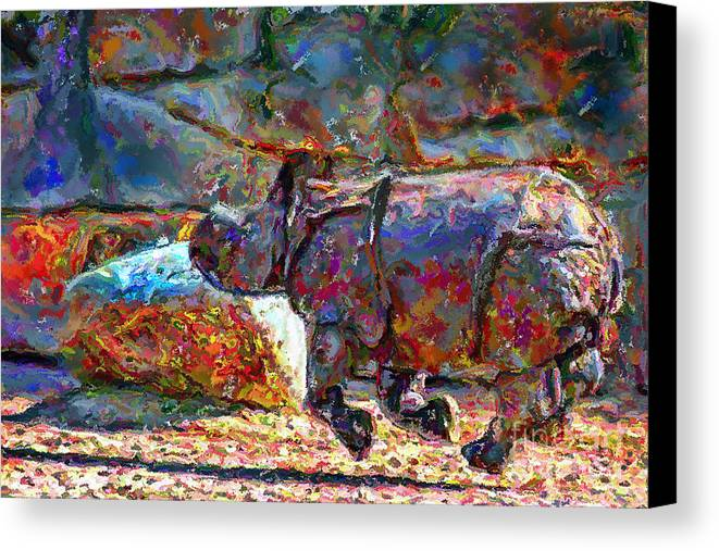 Animals Canvas Print featuring the digital art Rhino On The Run by Marilyn Sholin