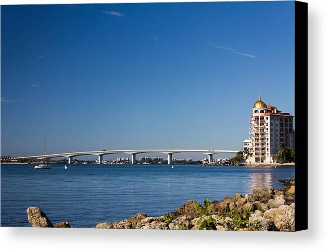 Marina Jacks Canvas Print featuring the photograph Ringling Bridge, Sarasota, Fl by Michael Tesar