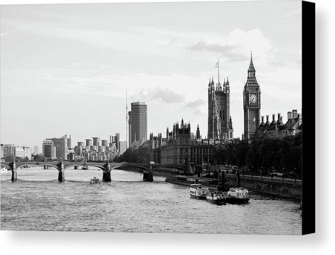 Big Ben Canvas Print featuring the photograph River Thames, London by Bob Cuthbert
