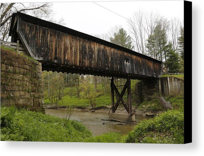 Digital Canvas Print featuring the photograph Riverdale Road Covered Bridge by Jeff Roney