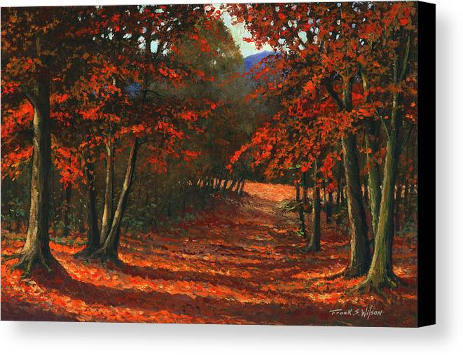 Landscape Canvas Print featuring the painting Road To The Clearing by Frank Wilson