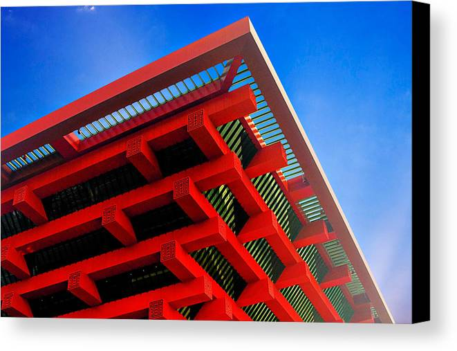 China Pavilion Canvas Print featuring the photograph Roof Corner - Expo China Pavilion Shanghai by Christine Till