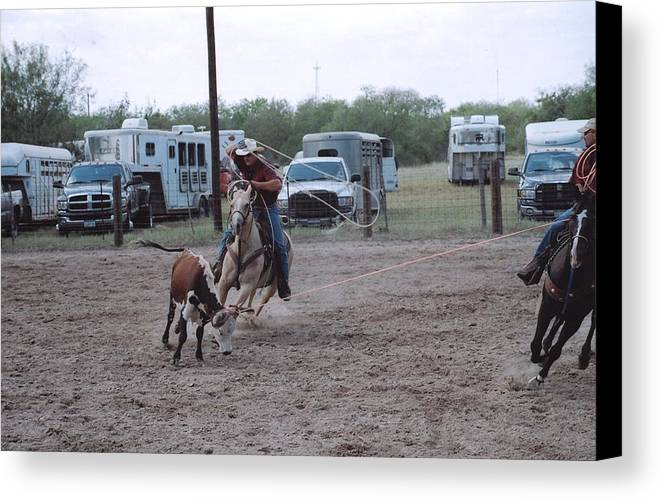 Horse Canvas Print featuring the photograph Roping Event 3 by Wendell Baggett