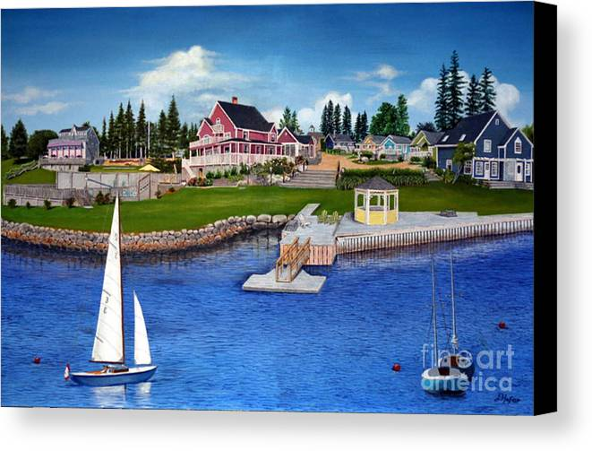 Landscape Canvas Print featuring the painting Rosewood Cottages Nova Scotia by Donald Hofer