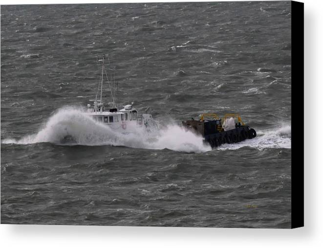 Supply Boat Canvas Print featuring the photograph Rough Water by Bill Perry
