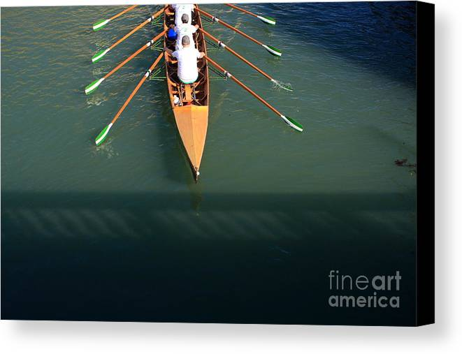 Venice Canvas Print featuring the photograph Rowers In Venice by Michael Henderson