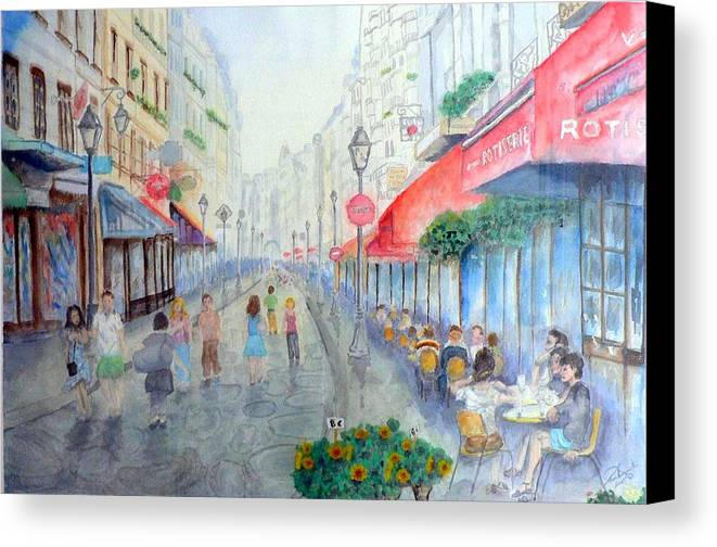 Late Afternoon Streetscape Canvas Print featuring the painting Rue Montorgueil Paris Right Bank by Dan Bozich