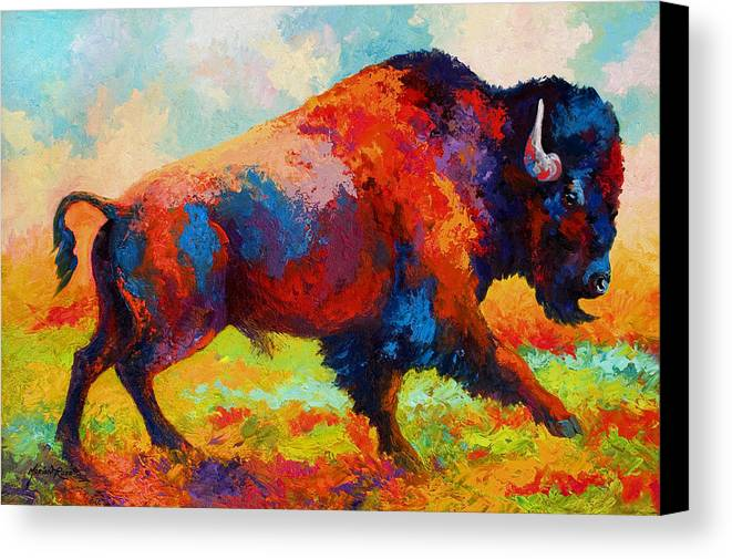 Bison Canvas Print featuring the painting Running Free - Bison by Marion Rose