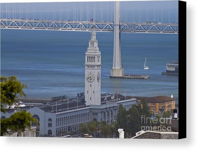 Rush Hour Canvas Print featuring the photograph Rush Hour Above The Ferry Building by Tim Mulina