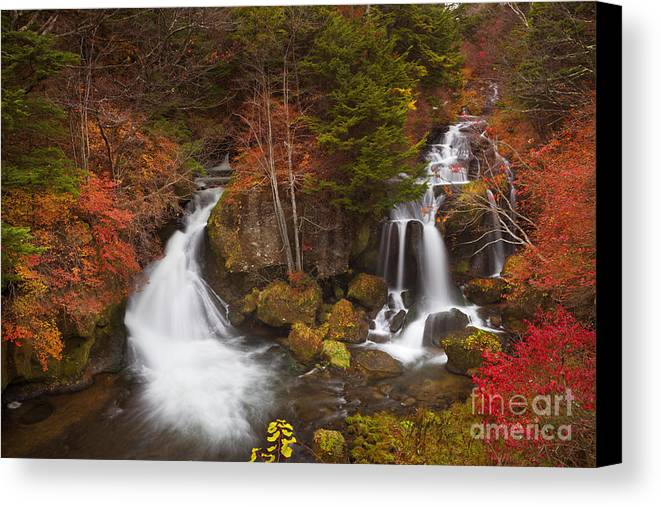 Waterfall Canvas Print featuring the photograph Ryuzu Falls Near Nikko In Japan In Autumn by Sara Winter