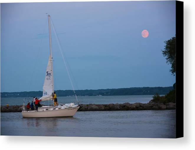 Scenic Canvas Print featuring the photograph Sail Boat And Moon On Lake Ontario by Richard Jenkins
