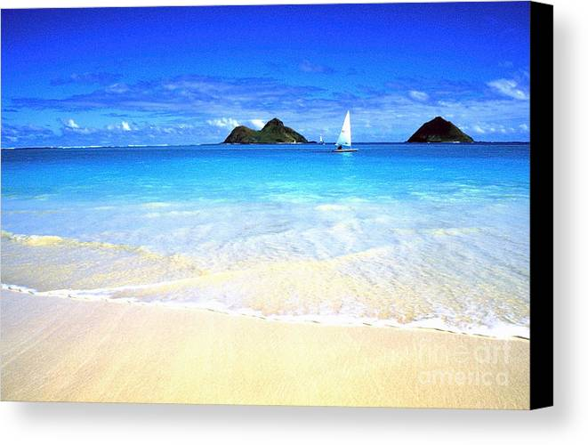 Lanikai Beach Canvas Print featuring the photograph Sailboat And Islands by Thomas R Fletcher