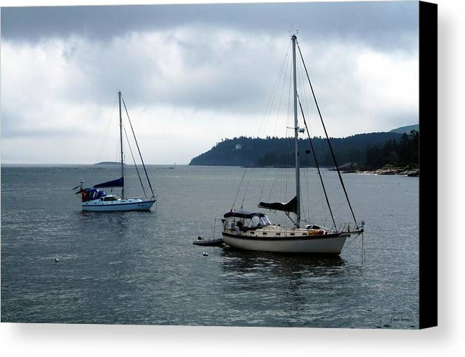 Sailboats Canvas Print featuring the photograph Sailboats In Bar Harbor by Linda Sannuti
