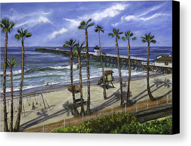 Pier Canvas Print featuring the painting San Clemente Pier by Lisa Reinhardt