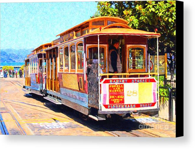 San Francisco Canvas Print featuring the photograph San Francisco Cablecar At Fishermans Wharf . 7d14097 by Wingsdomain Art and Photography