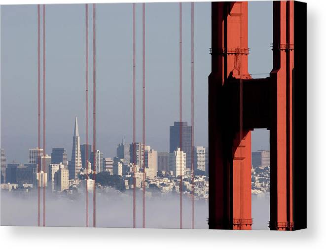 Horizontal Canvas Print featuring the photograph San Francisco Skyline From Golden Gate Bridge by Mona T. Brooks