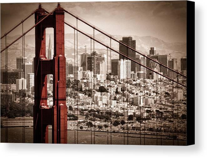 Golden Gate Canvas Print featuring the photograph San Francisco Through The Bridge by Matt Trimble